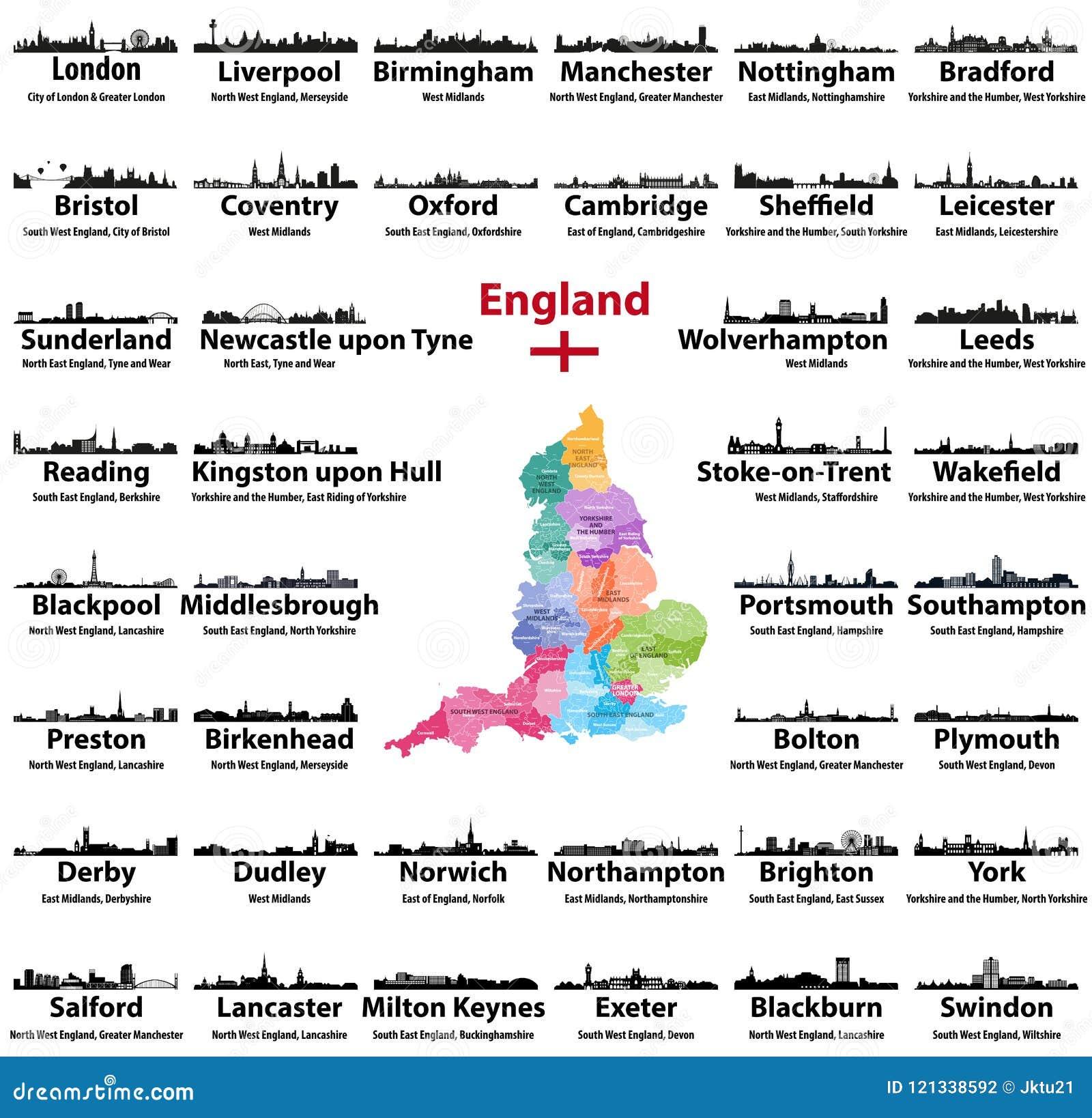 Ciudades De Inglaterra Mapa.Iconos De Los Horizontes De Las Ciudades De Inglaterra Con