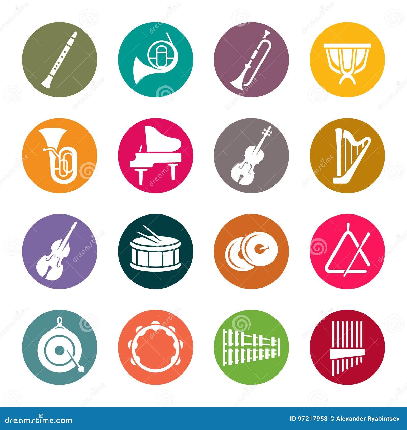 Iconos de los instrumentos de la orquesta