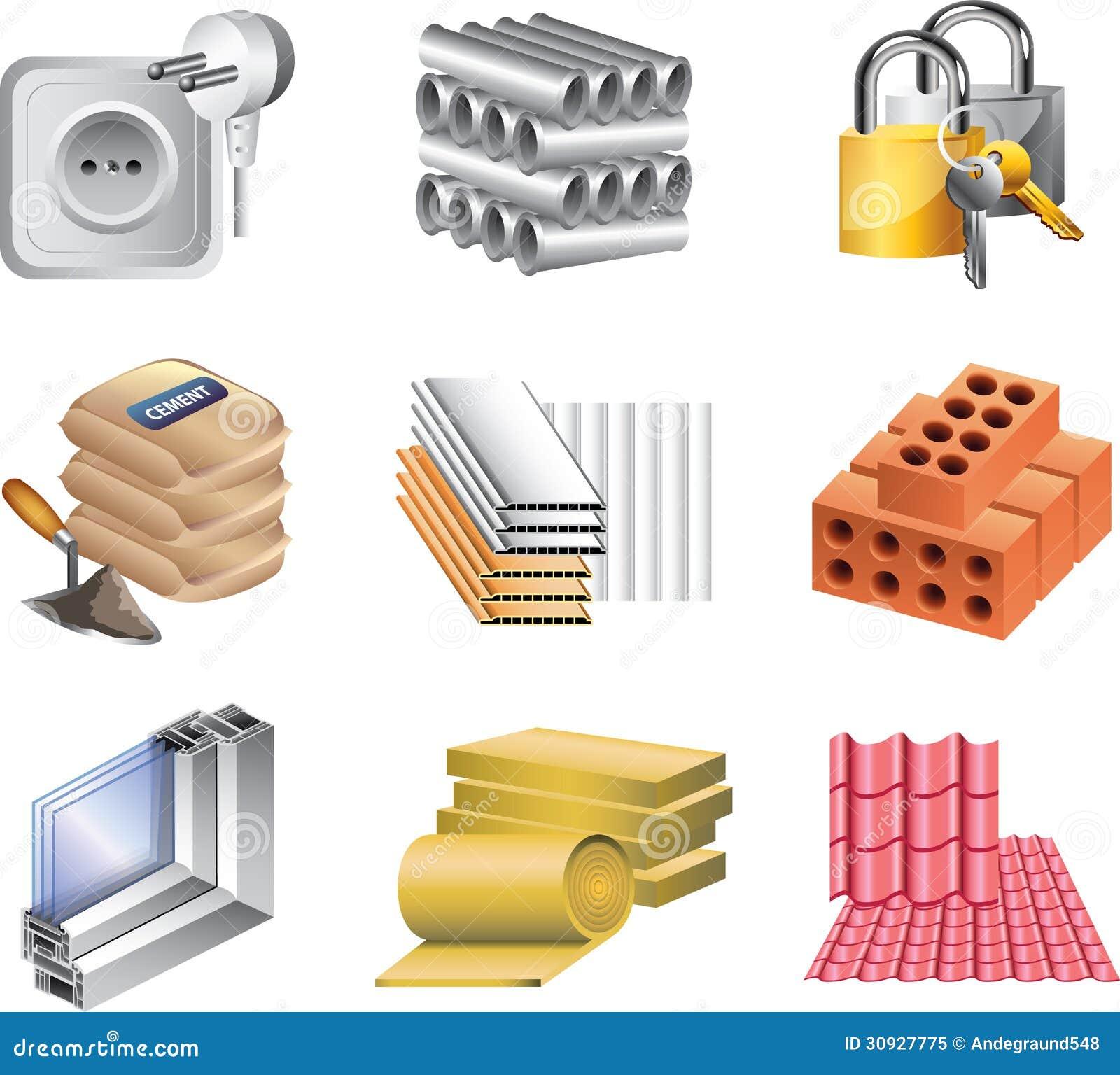 Iconos de los materiales de construcci n ilustraci n del - Materiales de construccion aislantes ...