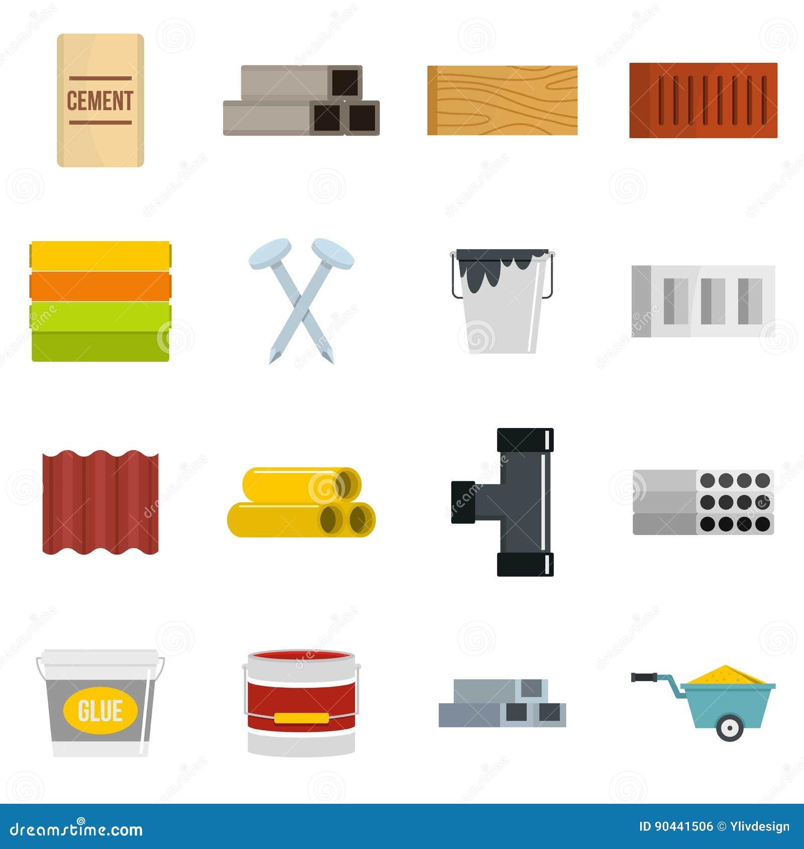 Iconos de los materiales de construcci n fijados en estilo - Material de construccion ...