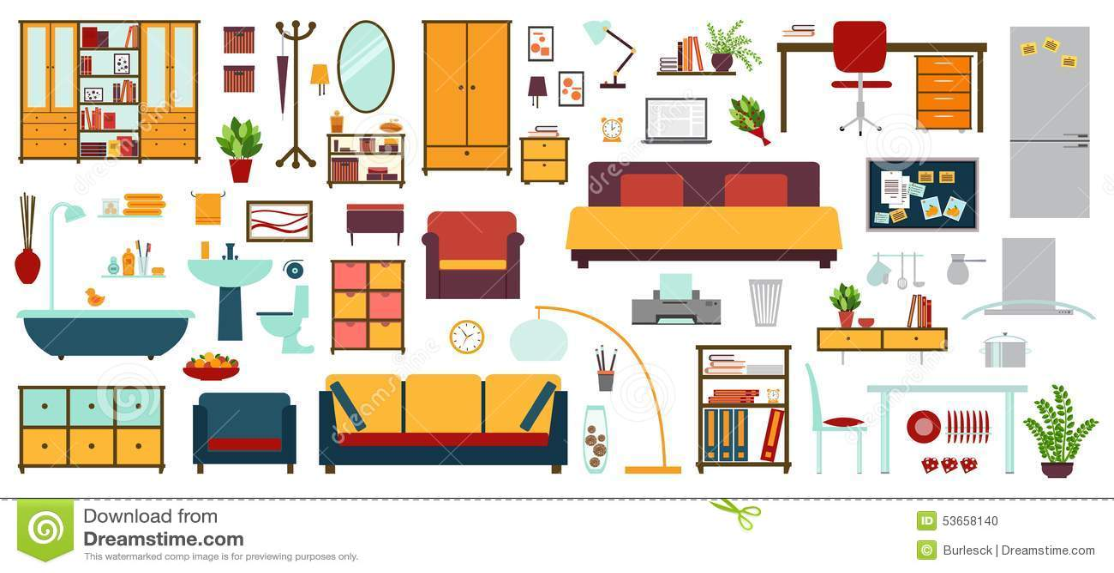 Iconos de los muebles en el estilo plano para la casa for Dibujos de muebles para planos arquitectonicos