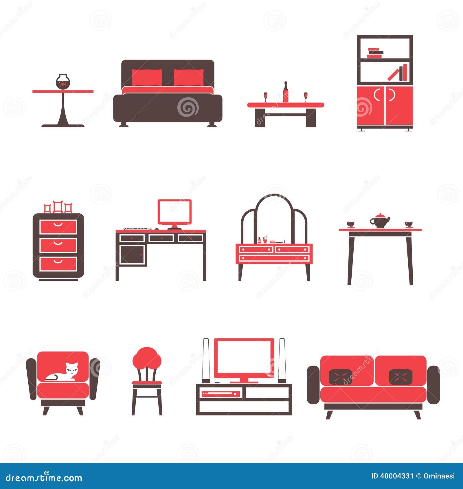 Iconos de los muebles y sistema de s mbolos planos para el for Mobiliario para planos