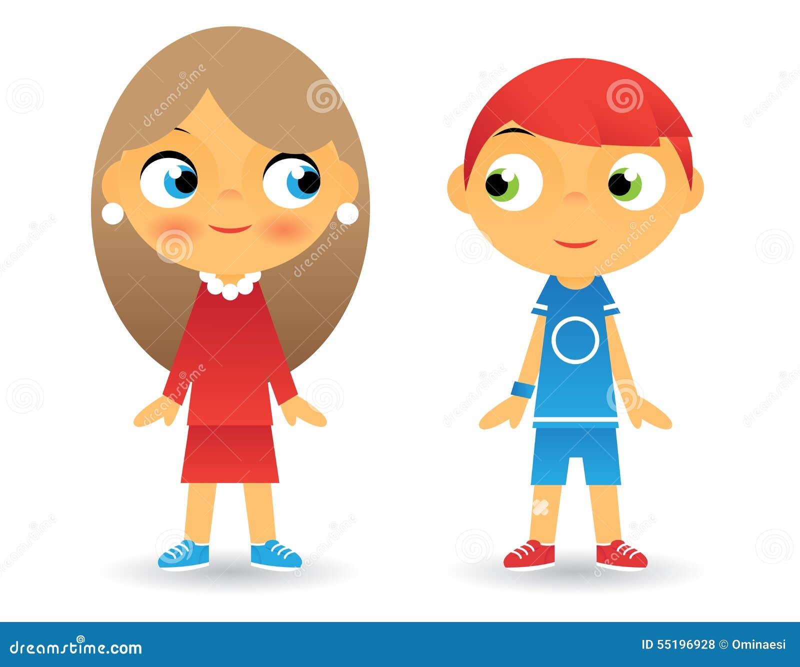 Iconos De Los Niños Del Personaje De Dibujos Animados De La Muchacha