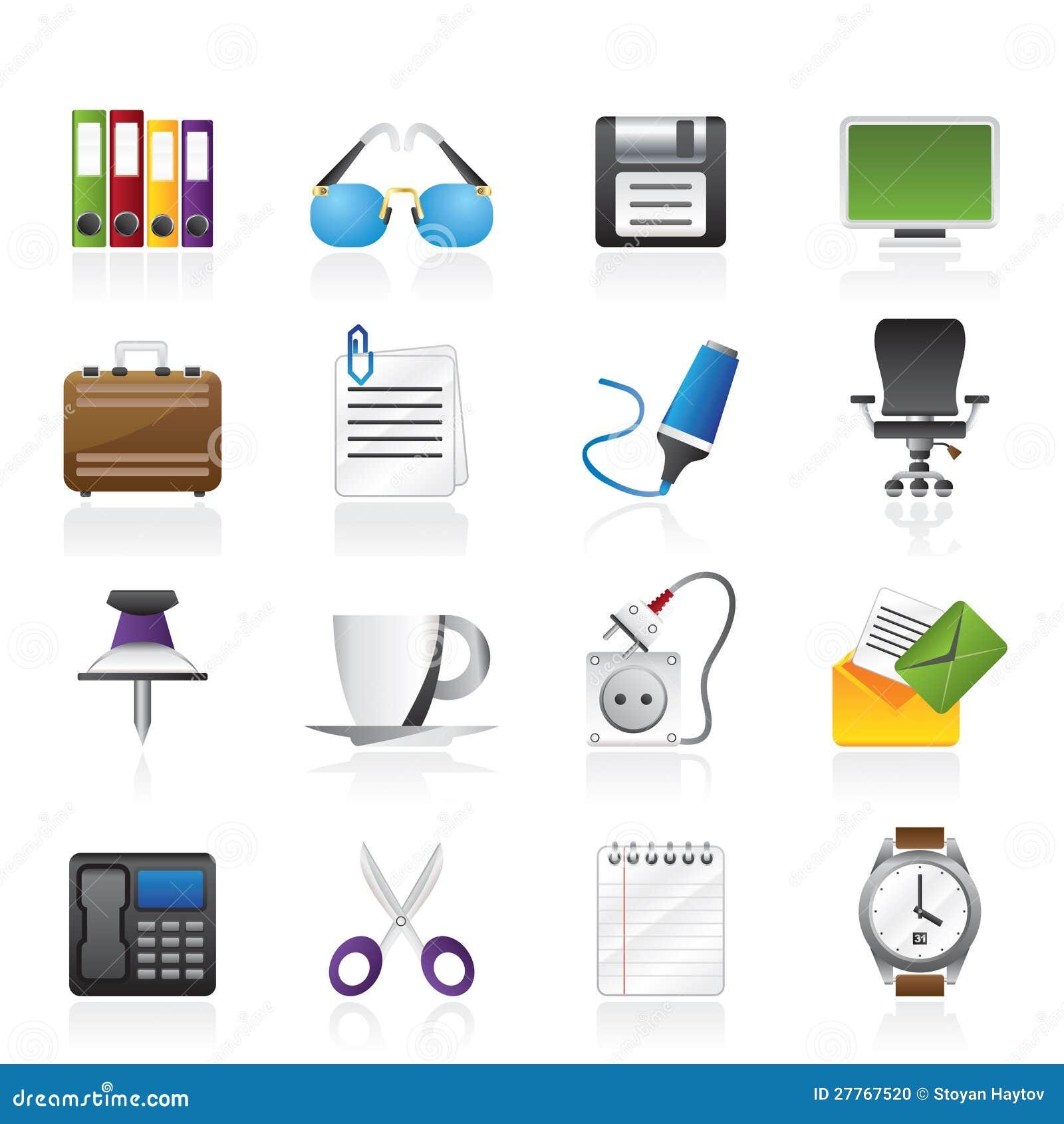 iconos de los objetos del asunto y de la oficina foto de