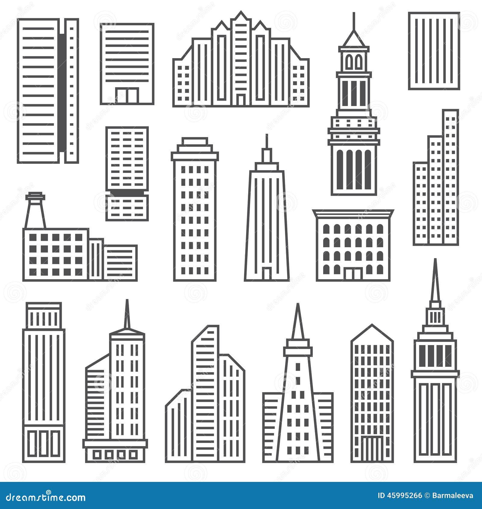 Iconos De Los Rascacielos Siluetas Grises Modernas De Ilustración ...