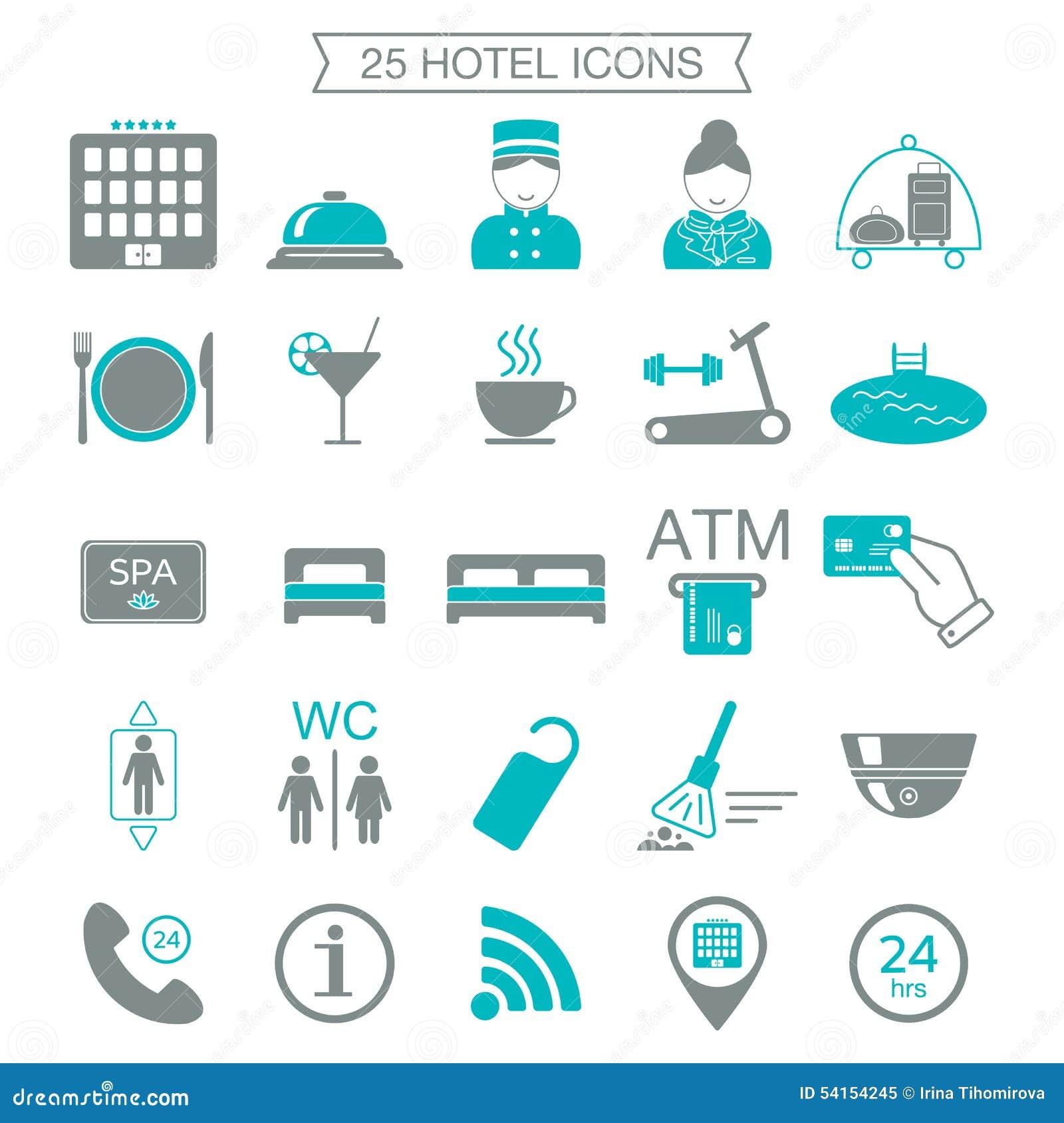 25 iconos de los servicios de hotel silueta bloque del for Tipos de servicios de un hotel