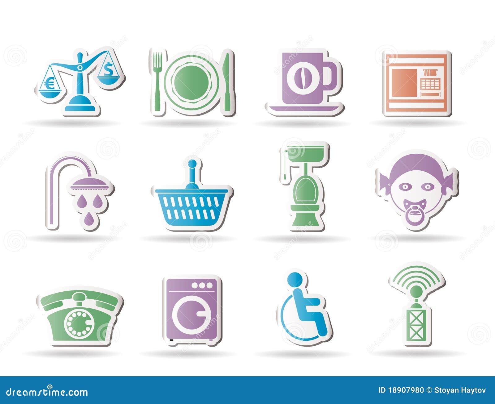 Iconos de los servicios del borde de la carretera, del hotel y del motel