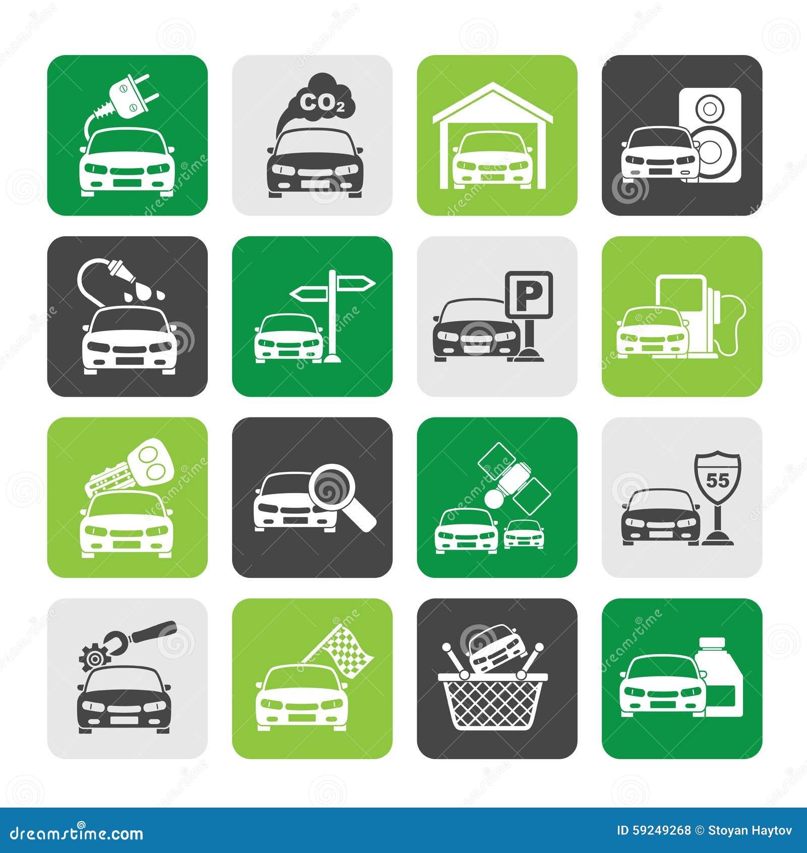 Iconos de los servicios del coche y del camino de la silueta