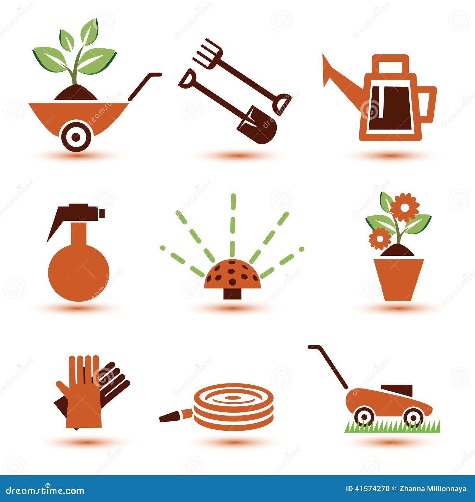 Iconos de los utensilios de jardiner a fijados ilustraci n - Imagenes de jardineria ...