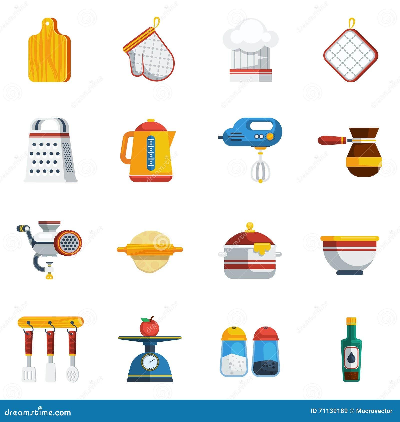 Iconos de los utensilios de la cocina fijados ilustraci n for Imagenes de utensilios de cocina
