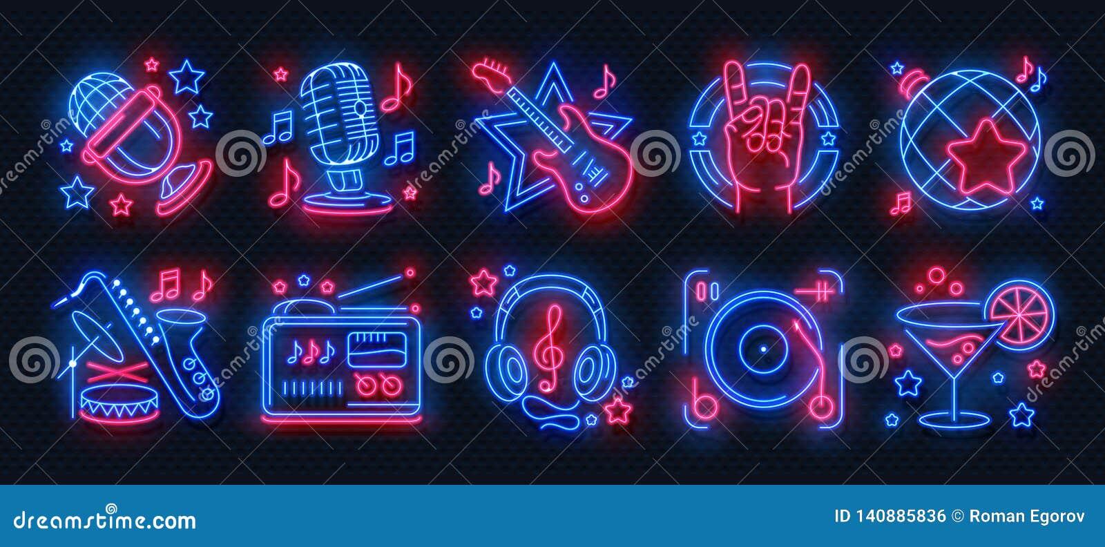 Iconos de neón del partido Ligeras señales del Karaoke de la música de danza, bandera del concierto que brilla intensamente, cart