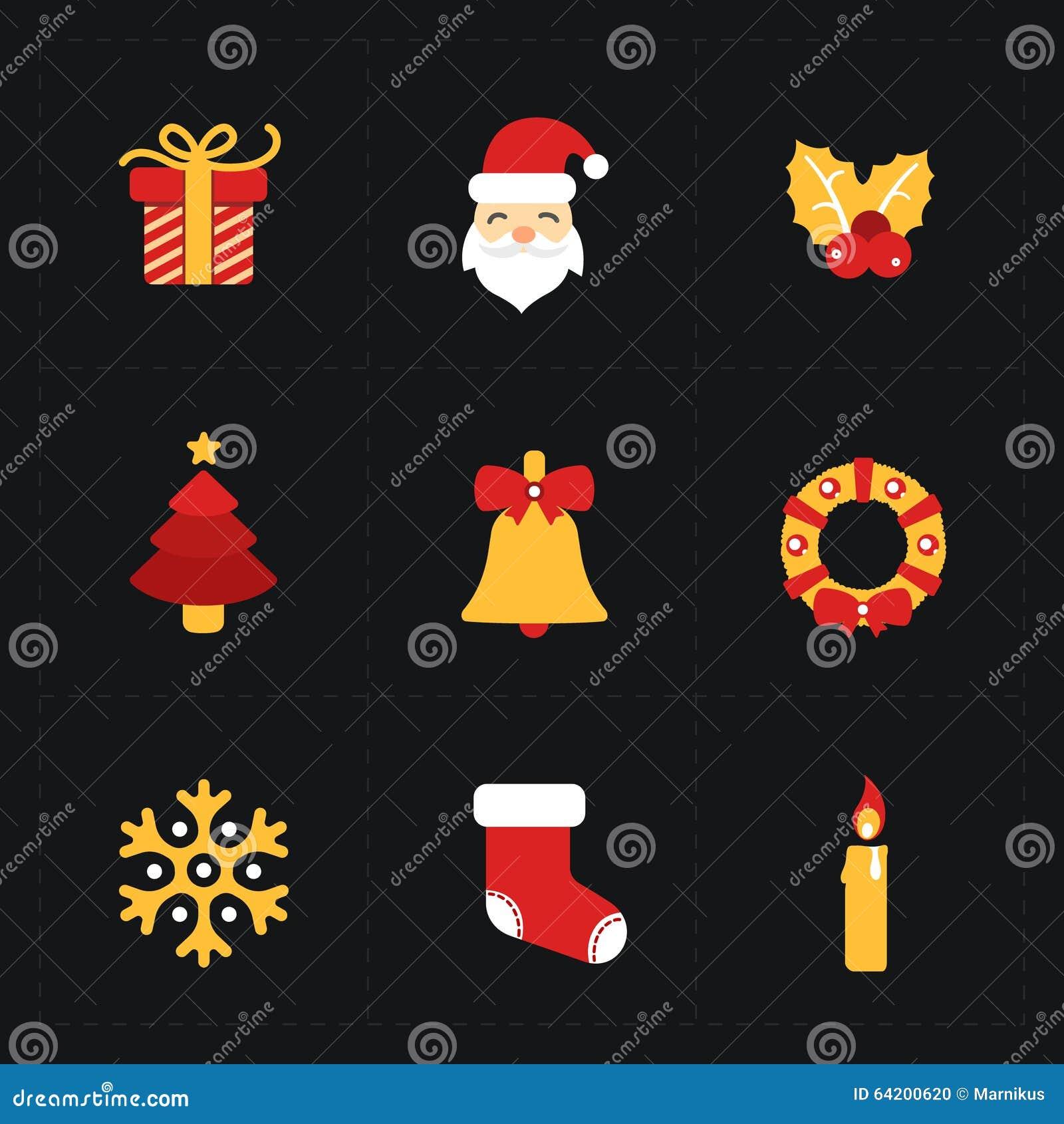 Iconos de oro planos de la Navidad