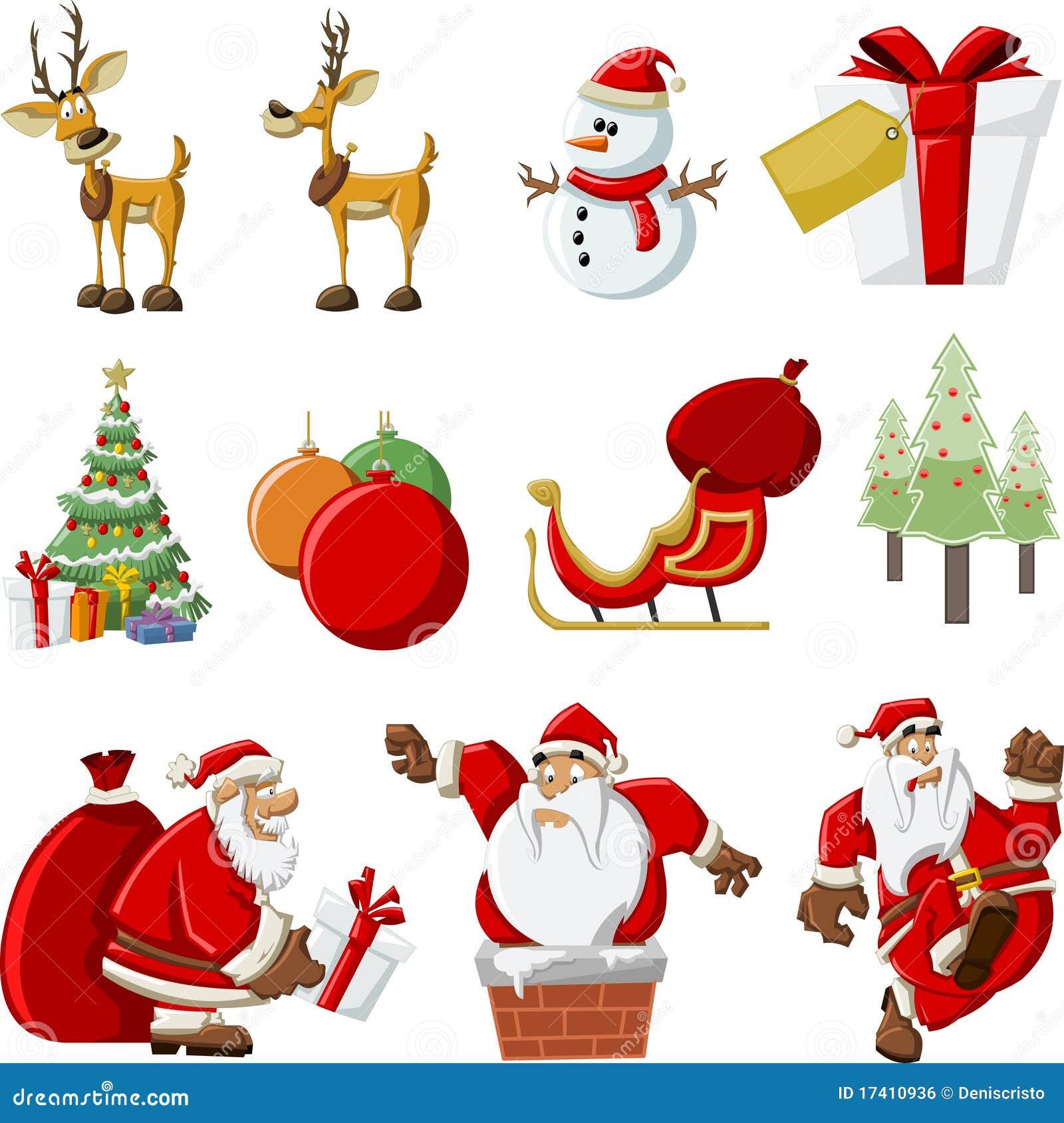 Iconos de Papá Noel el tiempo de la Navidad