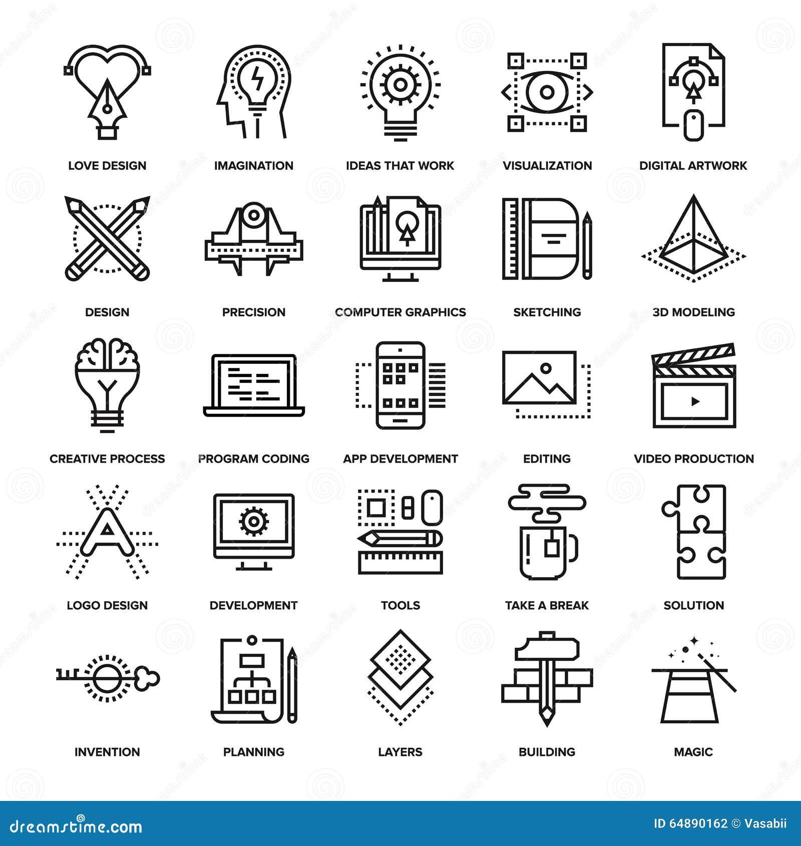 Iconos de proceso creativos