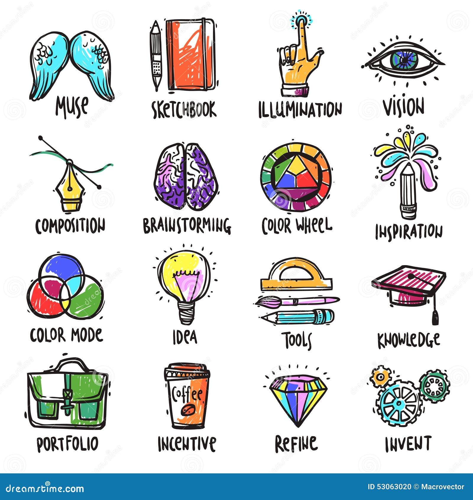 Iconos de proceso creativos fijados