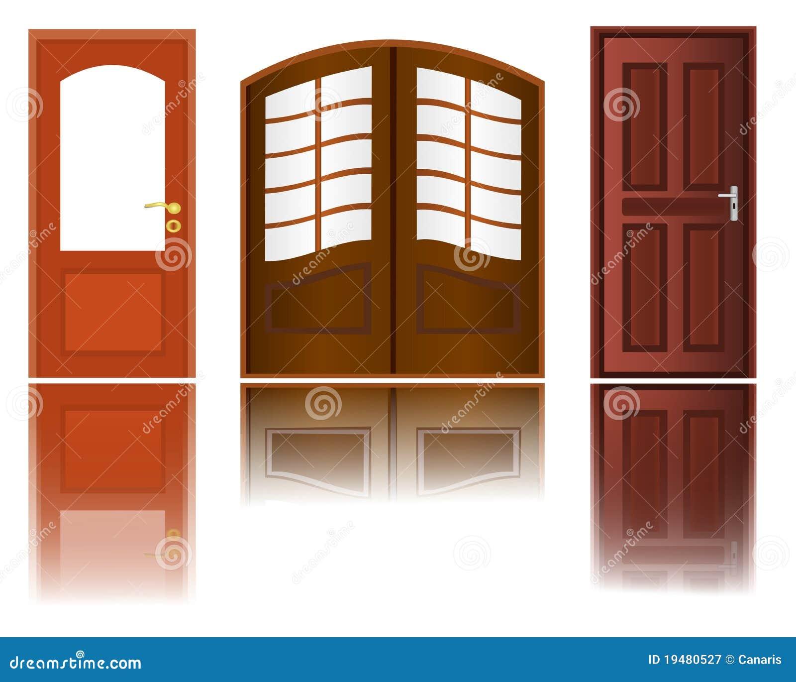 Iconos de puertas de madera ilustraci n del vector for Puertas 3 de febrero