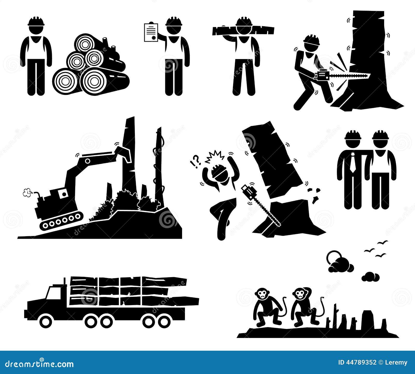 Iconos de registración de Cliparts de la tala de árboles del trabajador de la madera