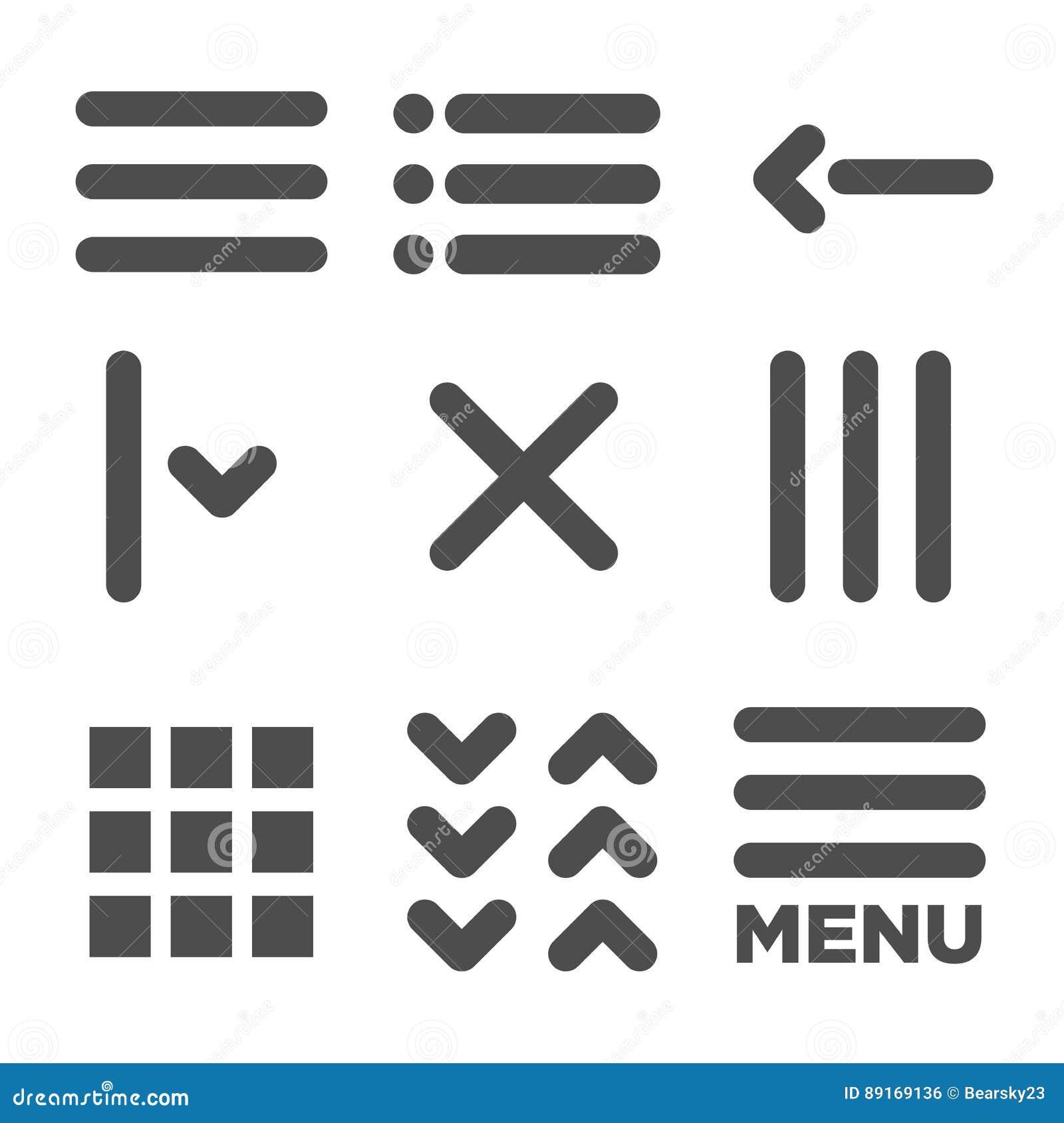 Iconos de UI y de UX para el móvil o las aplicaciones web