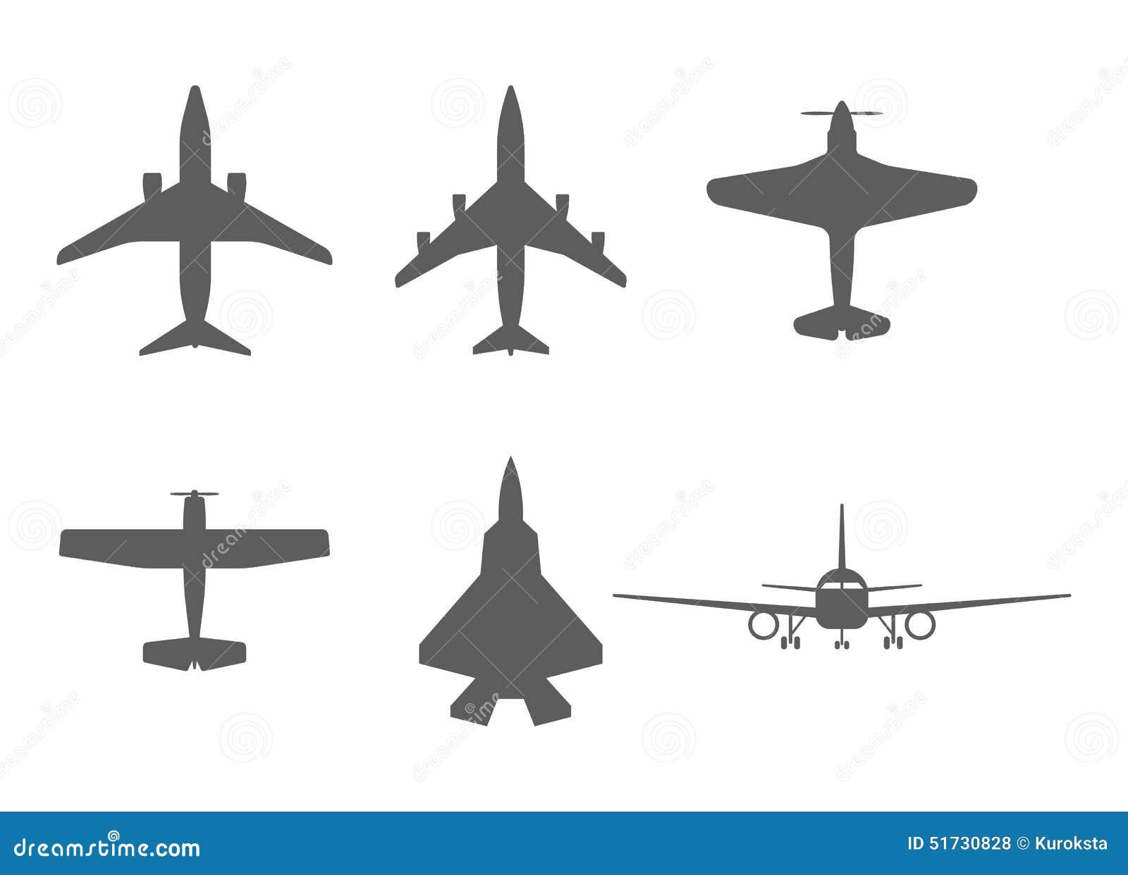 Iconos Del Aeroplano Fijados: Avión De Pasajeros, Avión De Combate Y ...