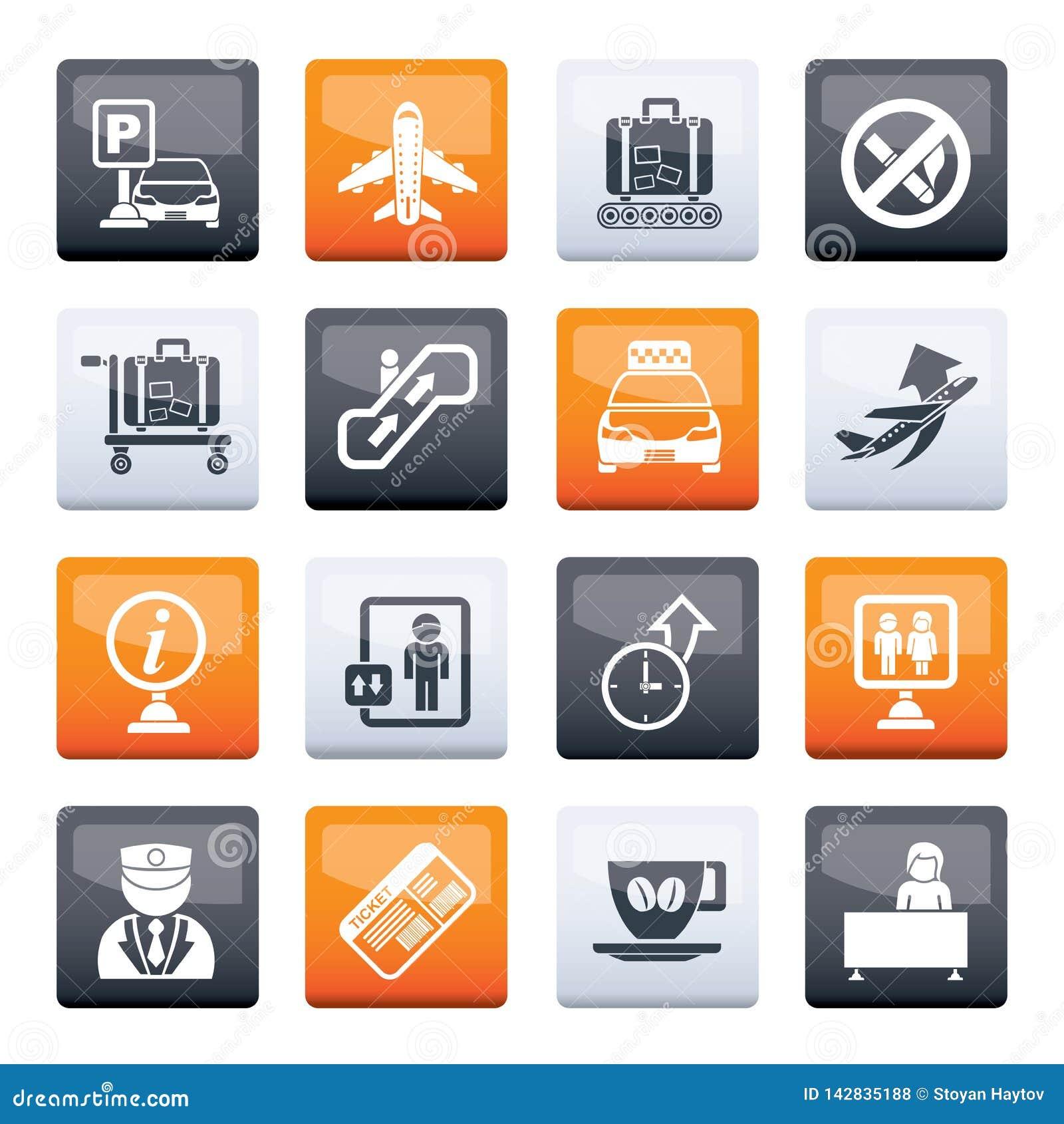 Iconos del aeropuerto y del transporte sobre fondo del color