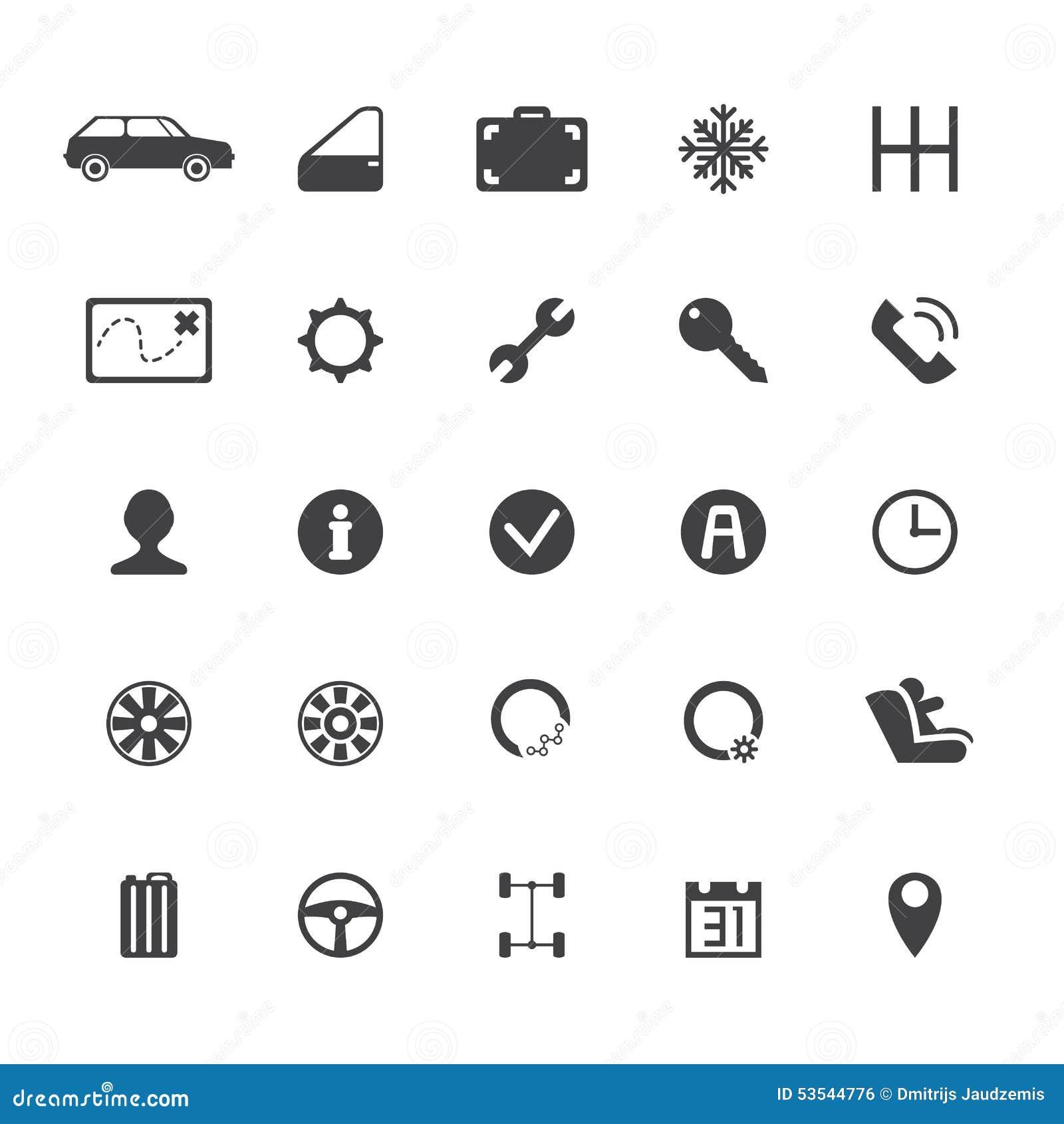 Iconos Del Alquiler De Coches Del Vector Ilustración del Vector ...