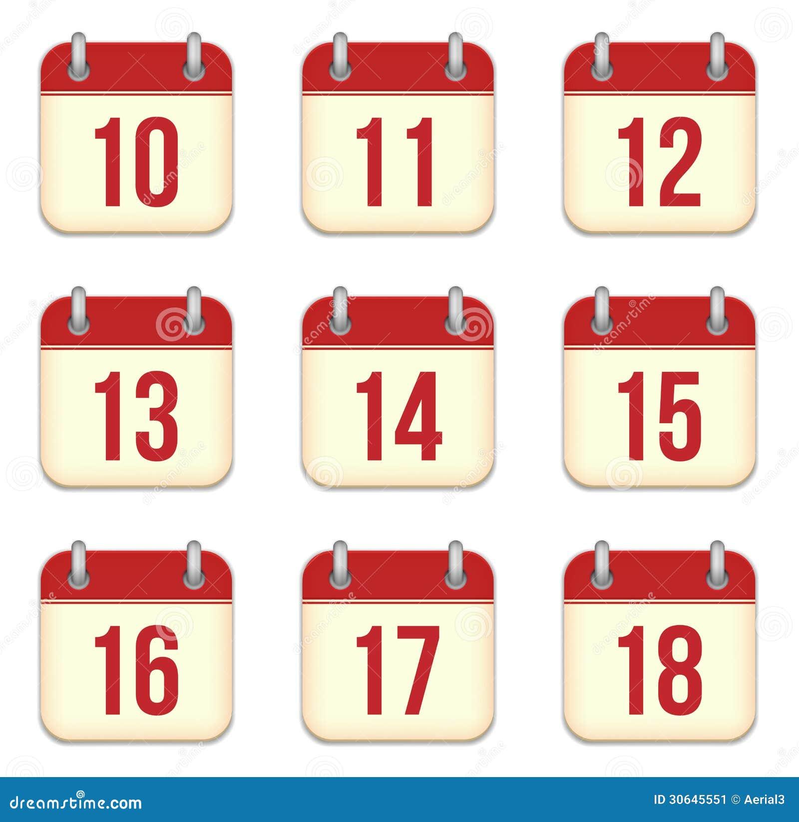 5e4810170 Iconos Del App Del Calendario Del Vector. 10 A 18 Días Ilustración ...