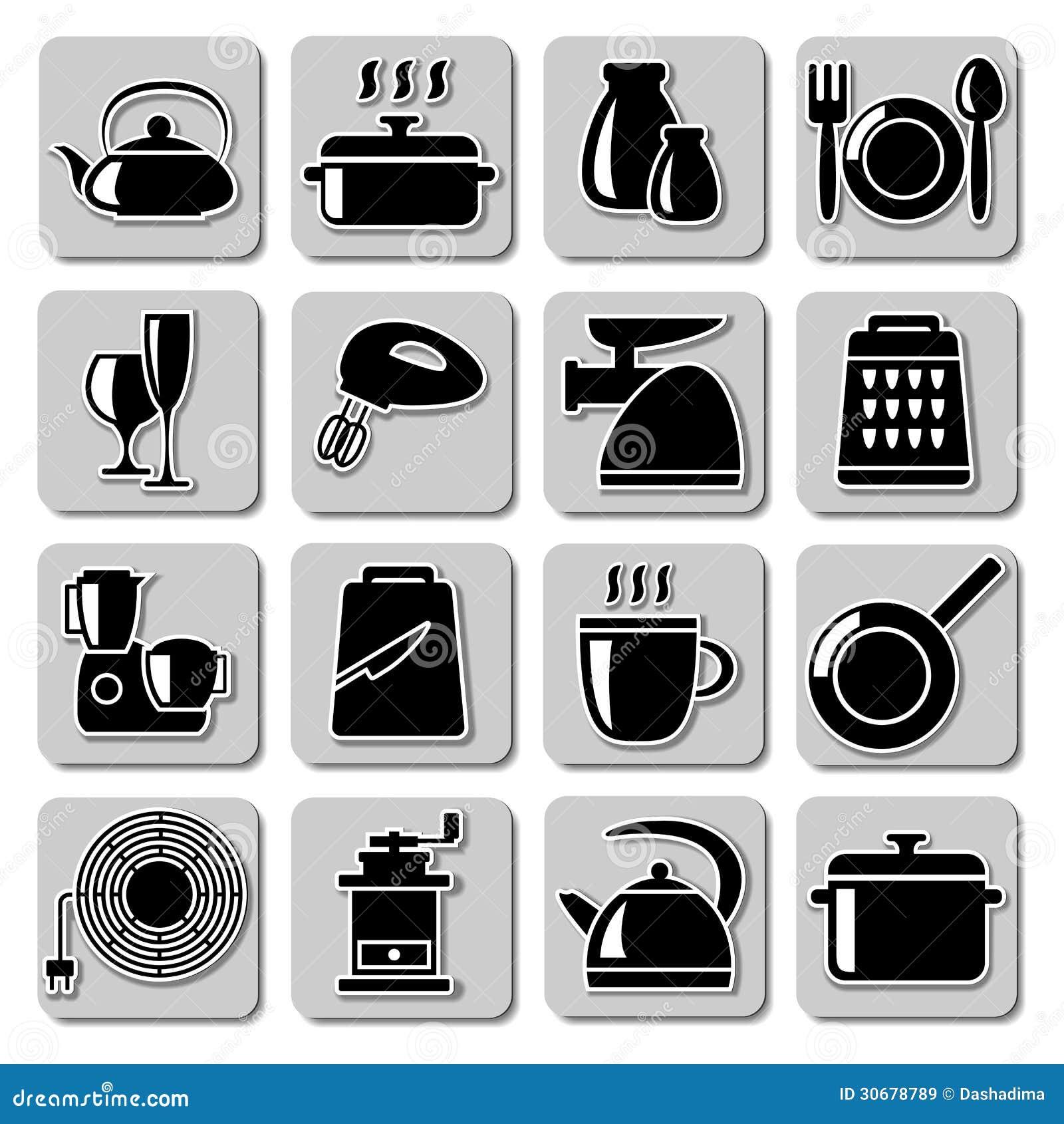 Iconos del art culos de cocina del vector ilustraci n del vector ilustraci n de kitchenware - Cosas de cocina ...