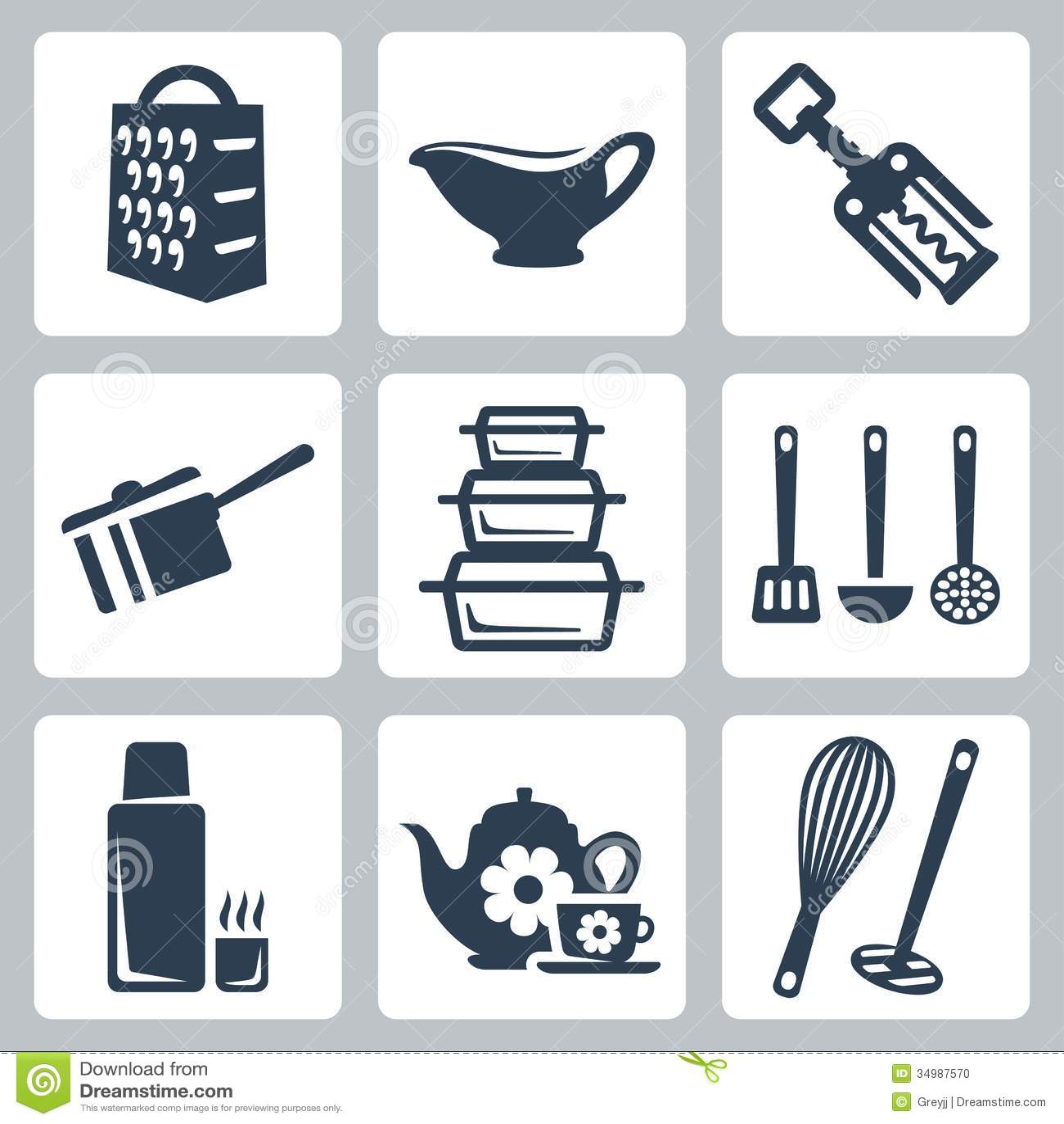 Iconos del art culos de cocina del vector fijados foto de for Articulos de cocina