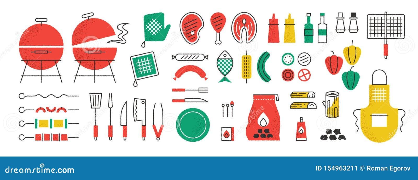 Iconos del Bbq y de la parrilla Comida campestre del verano con cocinar la reunión de la barbacoa y equipo de la cocina, espátula