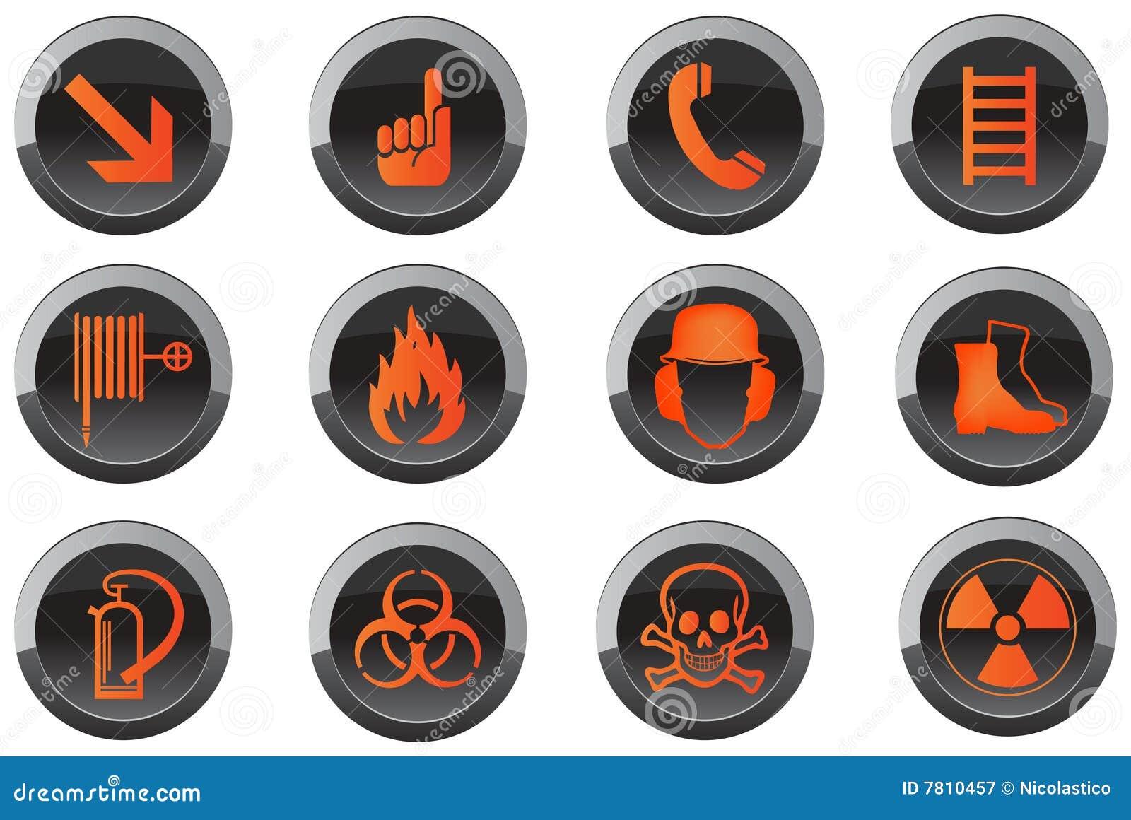 Iconos del botón de la seguridad