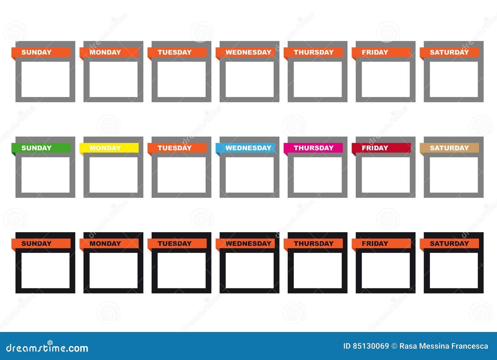 Iconos del calendario de los d as de la semana ilustraci n del vector ilustraci n de viernes - Calendario da tavolo con foto proprie ...