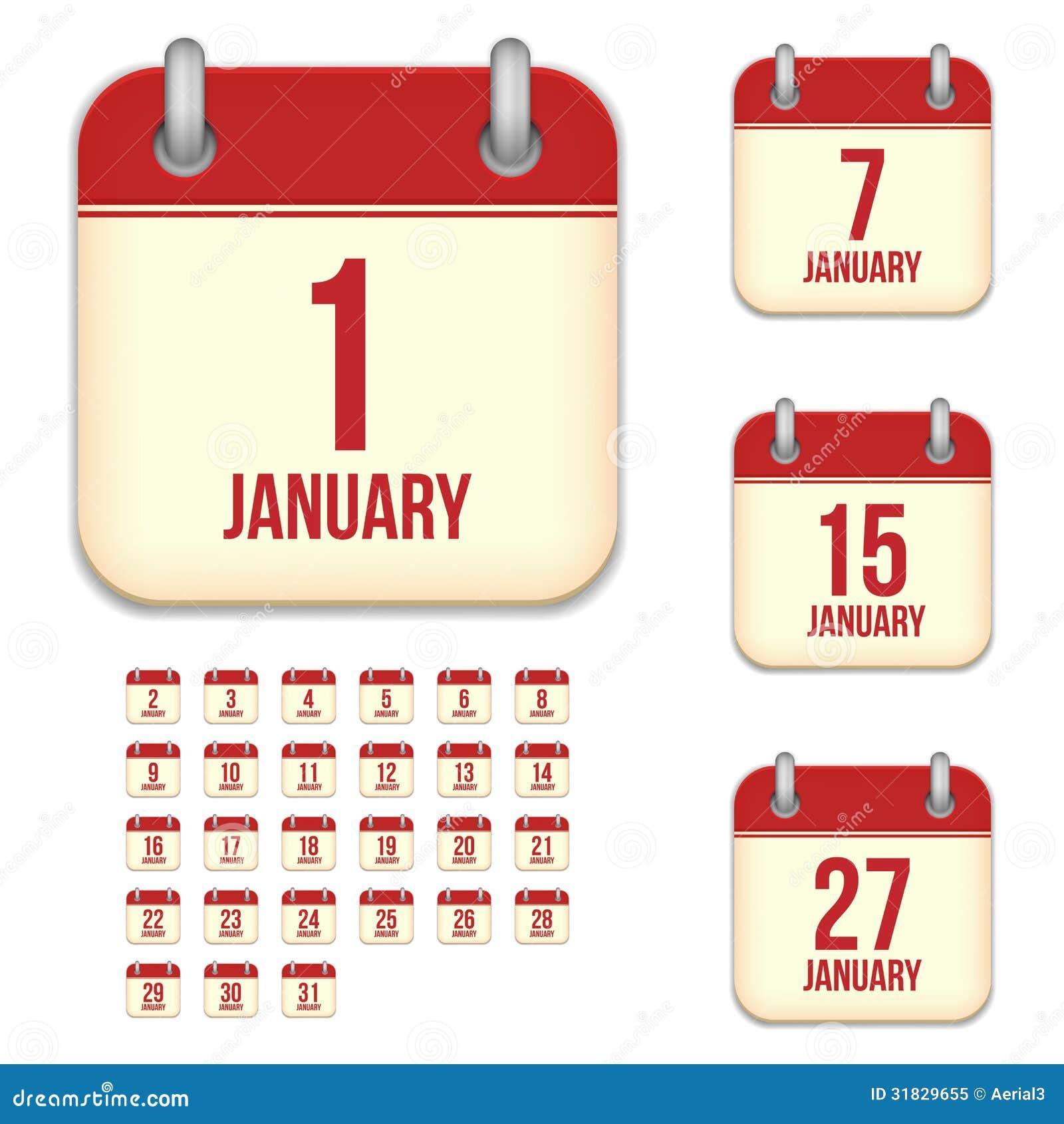 Calendario Vectores.Iconos Del Calendario Del Vector De Enero Ilustracion Del