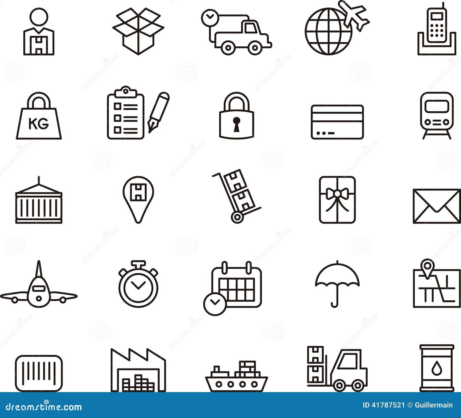 Iconos del cargo, de la entrega, del envío de la carga y del transporte
