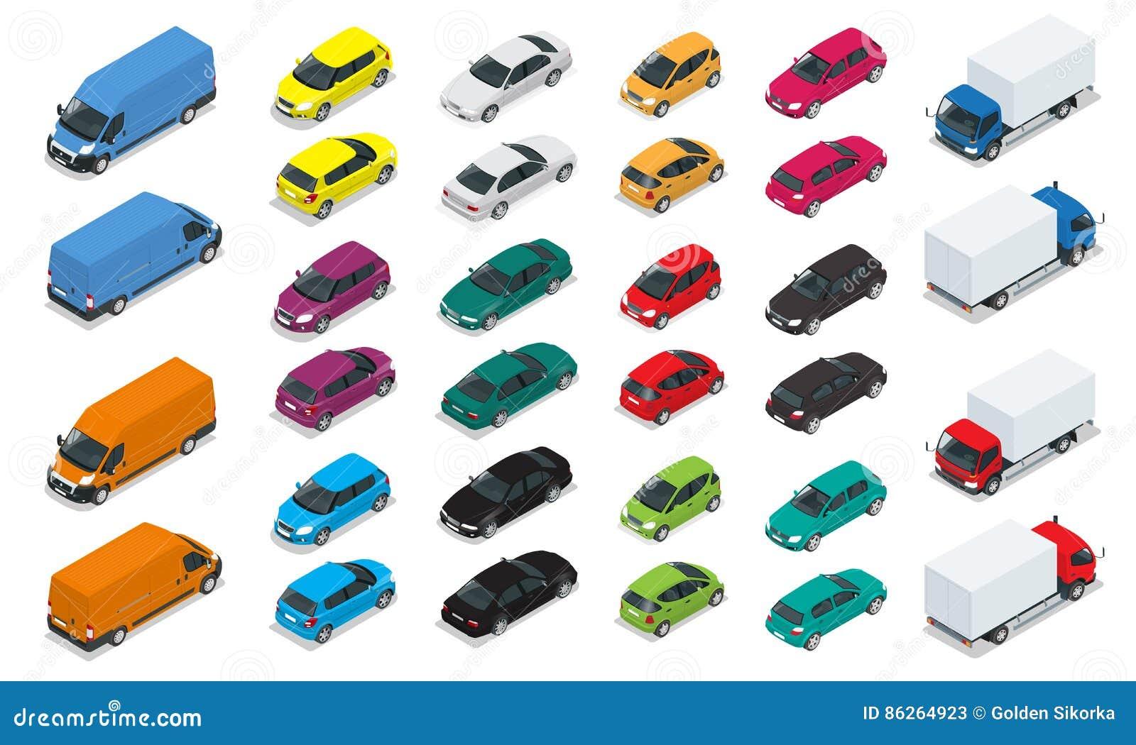 Iconos del coche Transporte de alta calidad isométrico plano de la ciudad 3d Sedán, furgoneta, camión del cargo, ventana trasera