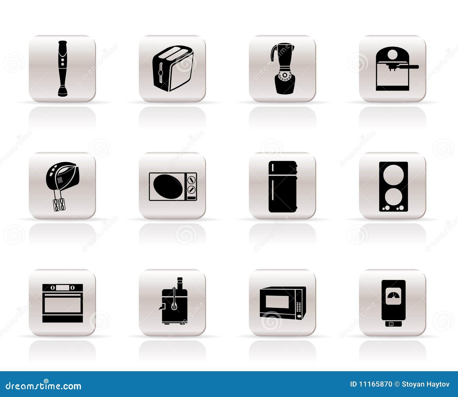 Iconos del cocina y caseros del equipo foto de archivo for Aparatos de cocina