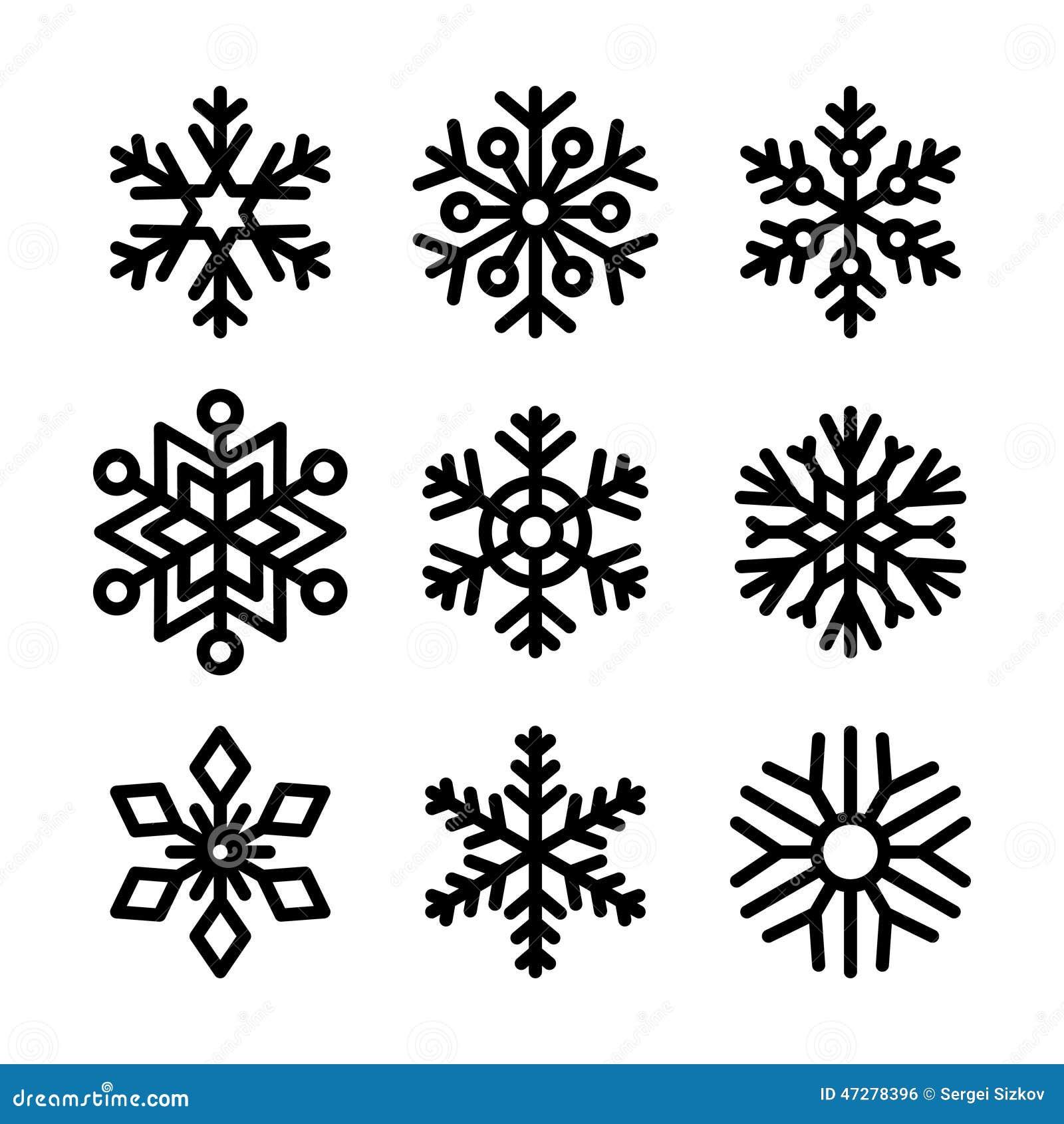 Iconos del copo de nieve fijados en el fondo blanco Vector