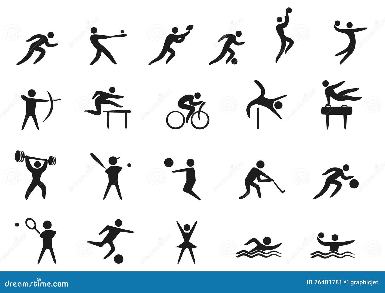 Fondo Con Iconos De Deporte: Iconos Del Deporte Imagen De Archivo