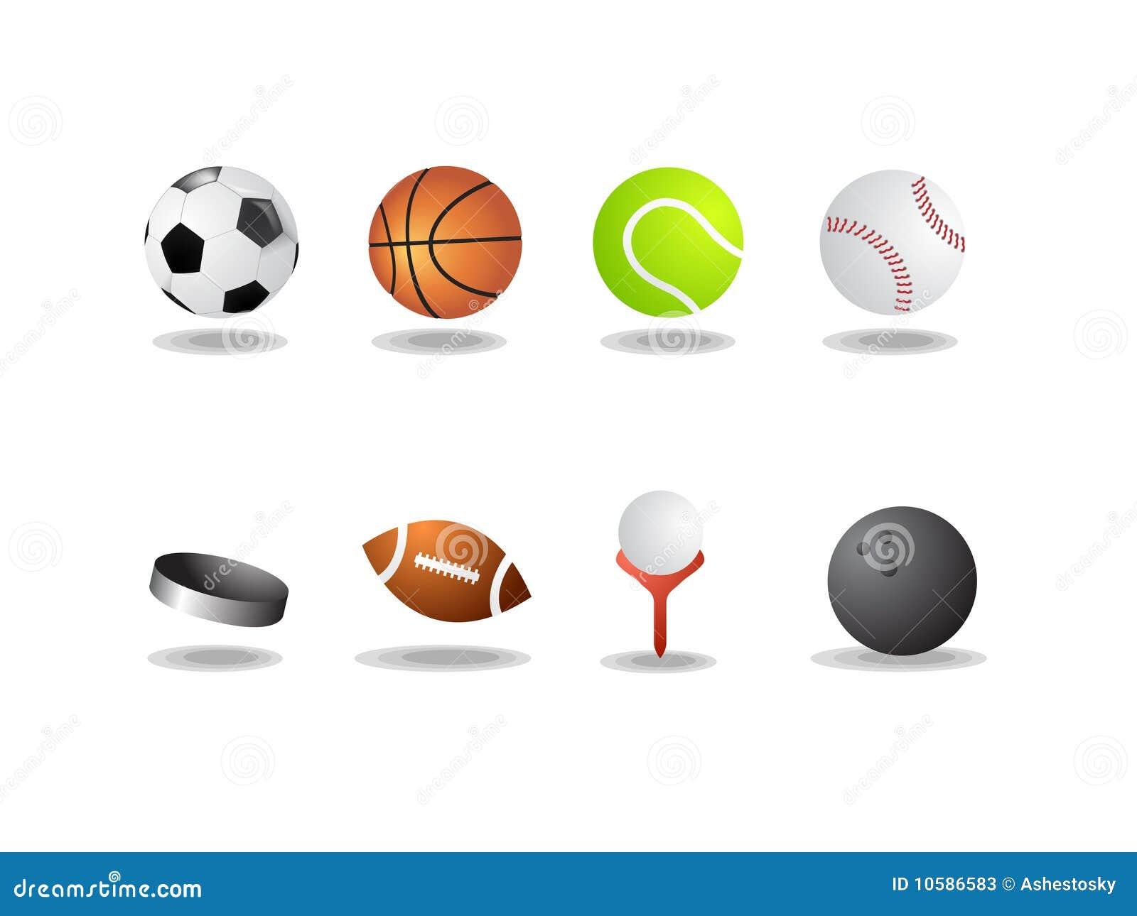 Iconos del deporte como las bolas del vector aislaron