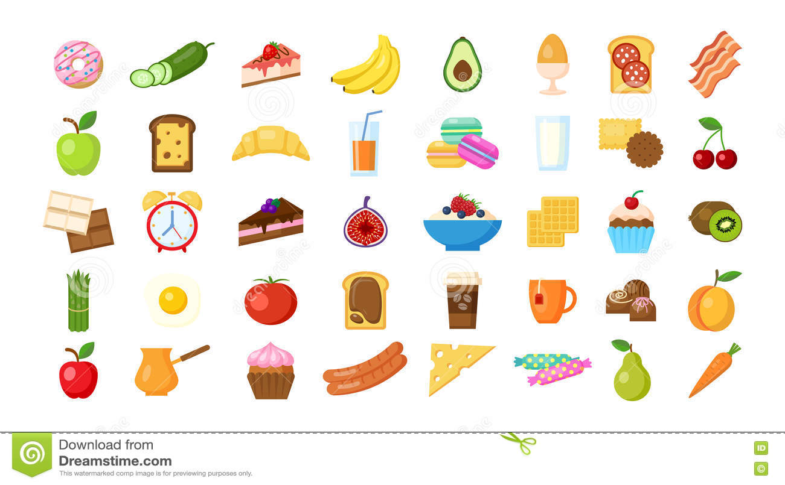 Iconos del desayuno fijados