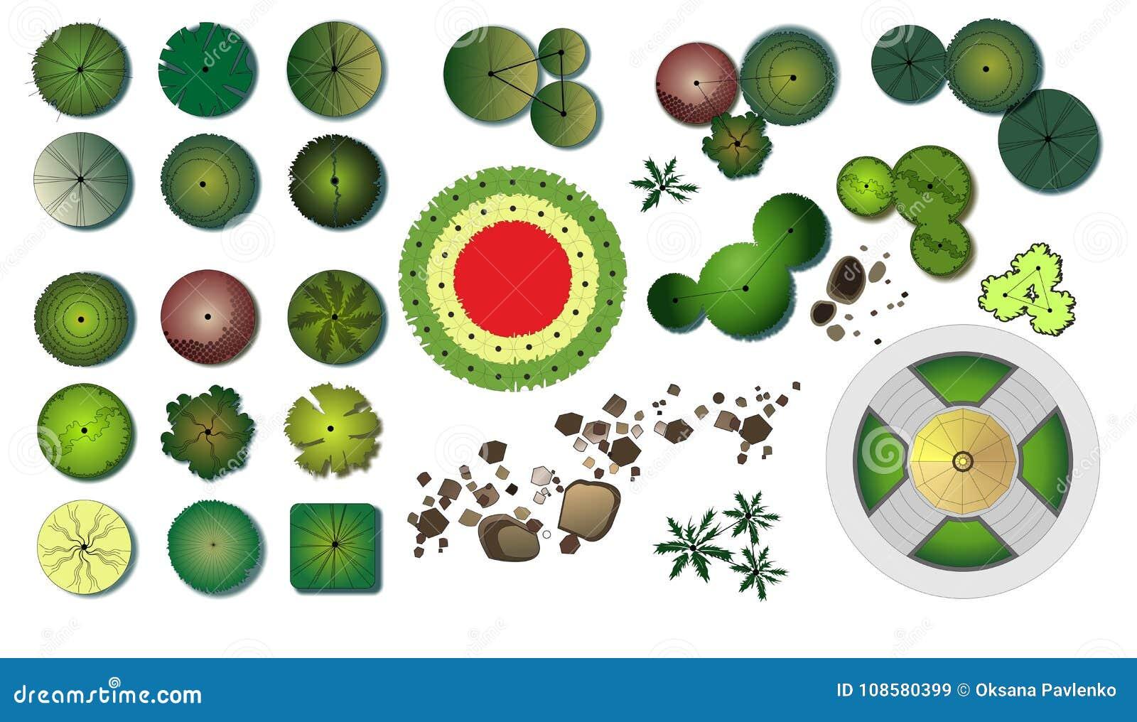 Iconos del diseño de los árboles del jardín