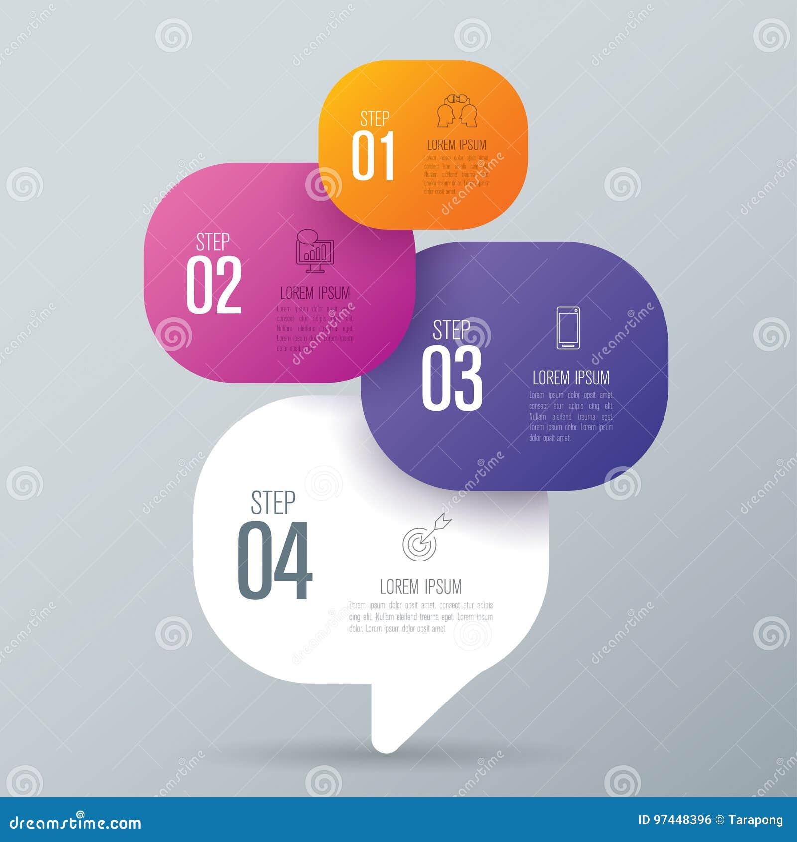 Iconos del diseño y del negocio de Infographic con 4 opciones