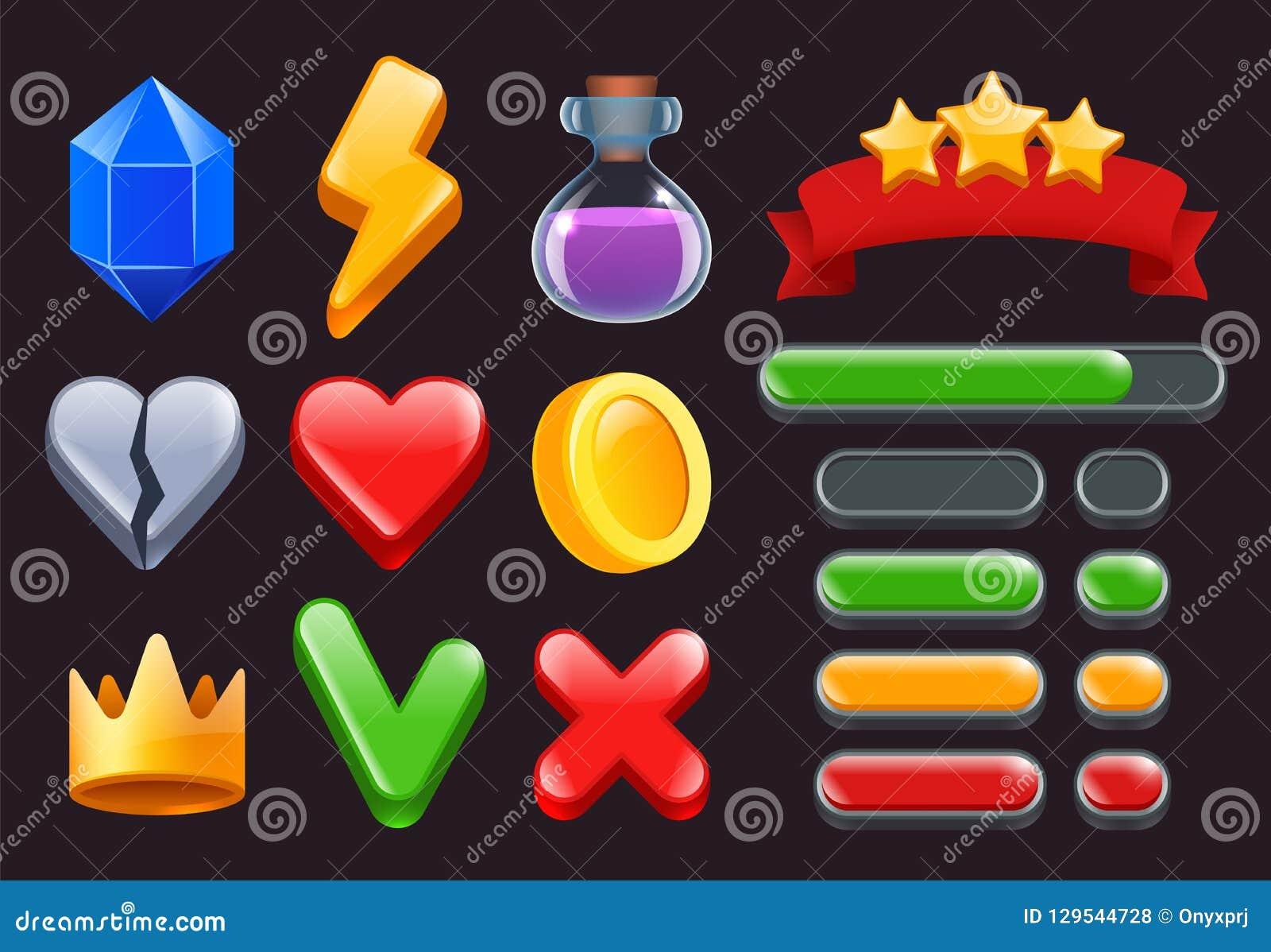 Iconos del equipo del ui del juego Las estrellas colorearon menús de las cintas y las barras de estado para los interfaces en lín