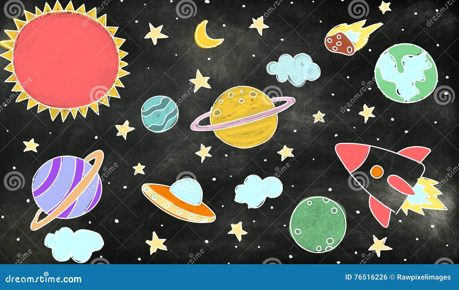 Iconos del espacio exterior que dibujan concepto de los gráficos