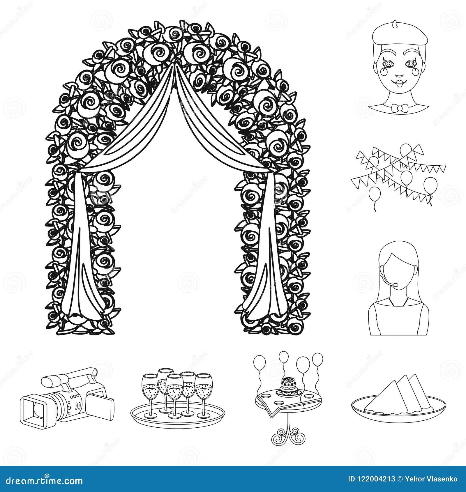 Iconos del esquema de la organización del evento en la colección del sistema para el diseño Web de la acción del símbolo del vect