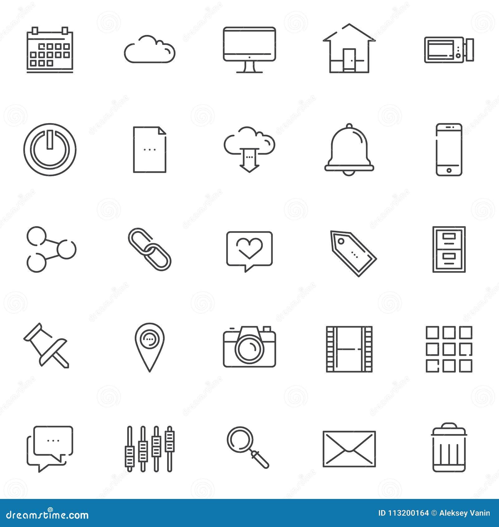 Iconos del esquema del esencial fijados