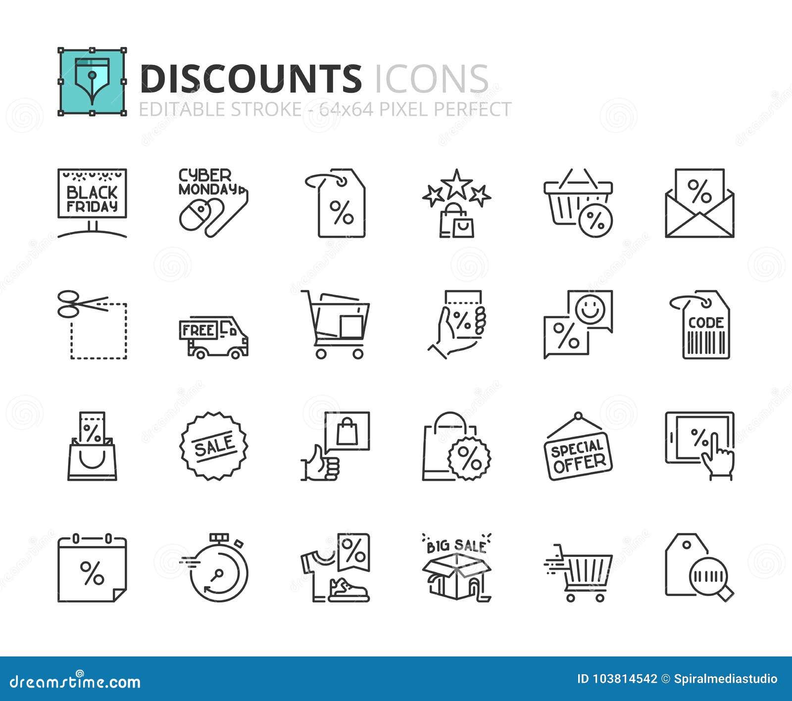 Iconos del esquema sobre descuentos