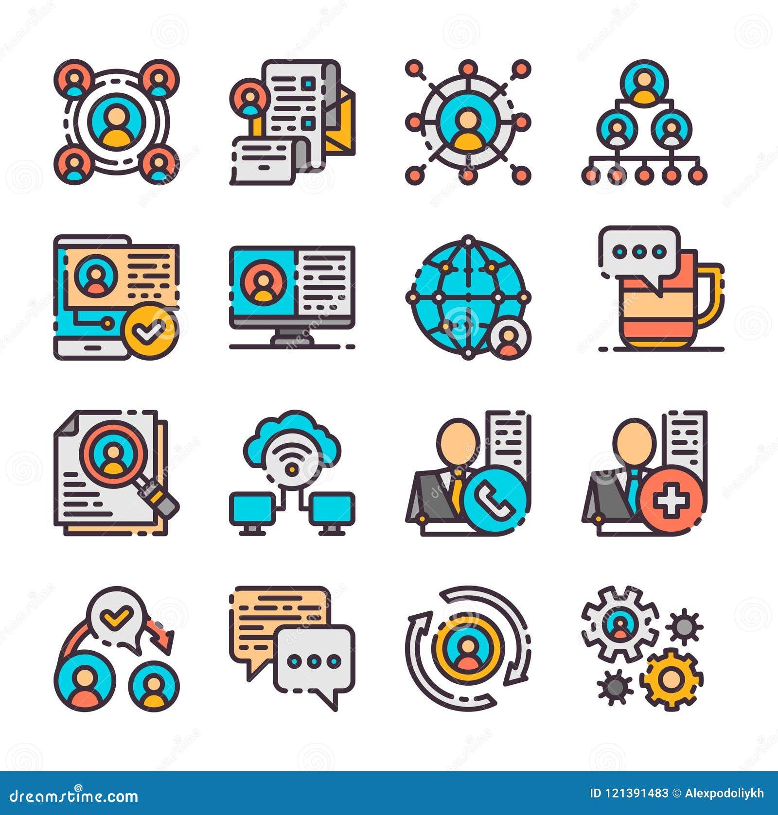 16 iconos del establecimiento de una red del vector fijados Ilustración del vector