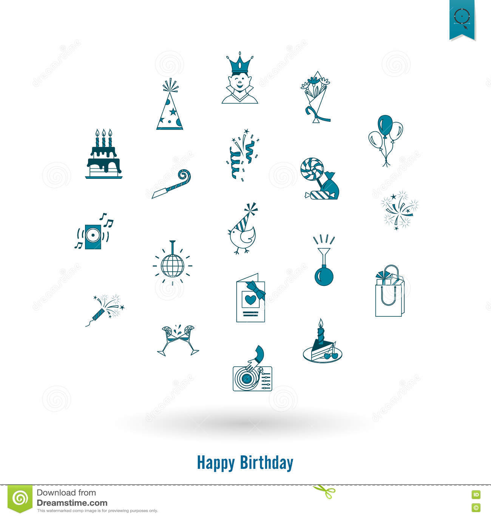 Iconos del feliz cumpleaños fijados