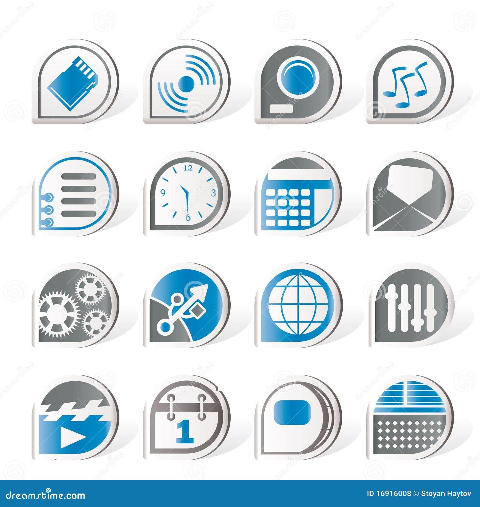 Iconos del funcionamiento del internet y de la oficina for La oficina telefono