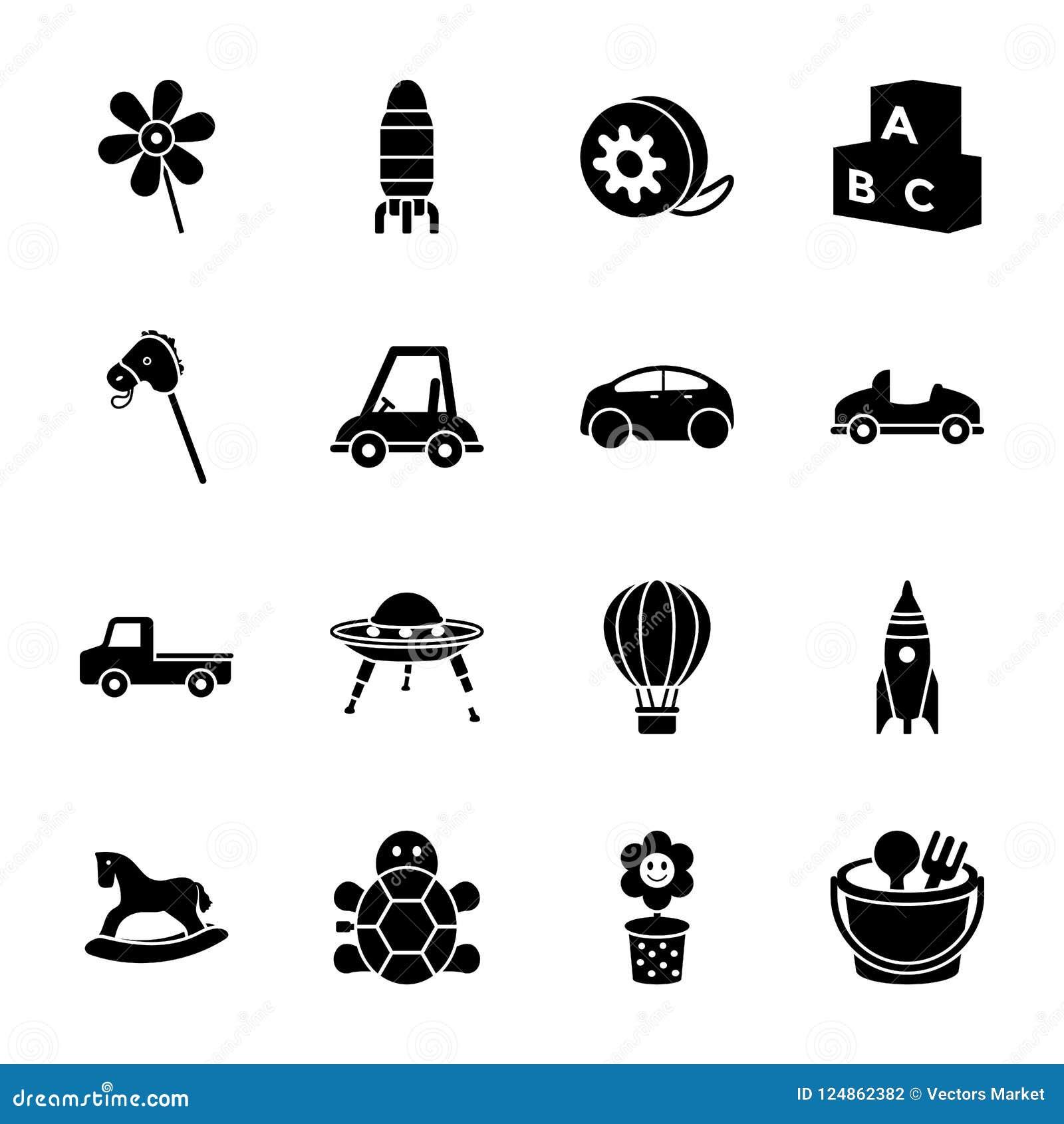 Iconos del Glyph de los juguetes de los niños